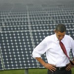 U.S. President Barack Obama visits solar energy center.